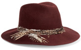 Eugenia Kim Georgina Feather-trimmed Wool-felt Fedora - Burgundy