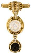 Judith Ripka Diamond & Coin Brooch