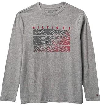 Tommy Hilfiger Long Sleeve Maze T-Shirt (Big Kids) (Grey Heather) Boy's Clothing