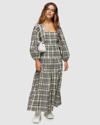 Topshop Petite Textured Square Neck Midi Dress