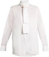 Burberry High-neck cotton-herringbone shirt