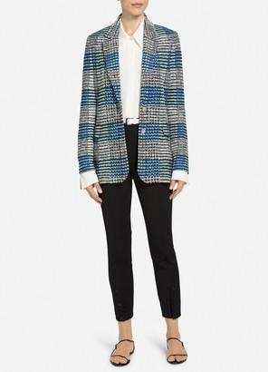 St. John Ribbon Plaid Knit Single Breasted Jacket