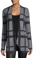 Neiman Marcus Printed Long-Sleeve Cardigan, Charcoal
