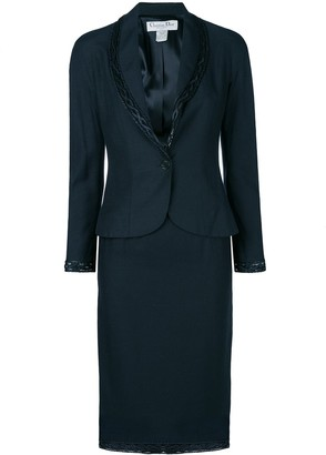 Christian Dior Pre-Owned braided detail skirt suit