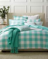 Charter Club Damask Designs Gingham Teal Full/Queen Duvet Set
