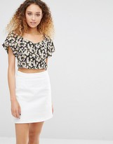 Daisy Street Crop Top In Floral Print