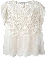Stella McCartney ruffled short sleeve top - women - Silk/Cotton/Polyester - 40