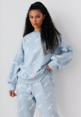 Missguided Playboy X Petite Blue Repeat Print Oversized Sweatshirt