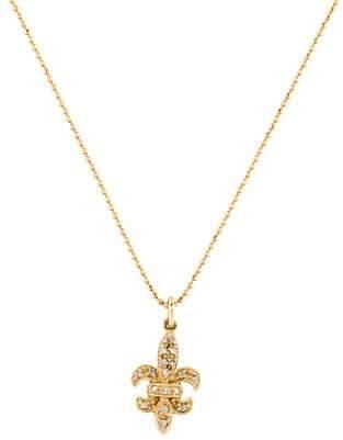 Sydney Evan 14K Diamond Fleur De Lis Pendant Necklace