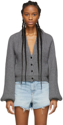 Alexander Wang Grey Wool Draped Neck Cardigan