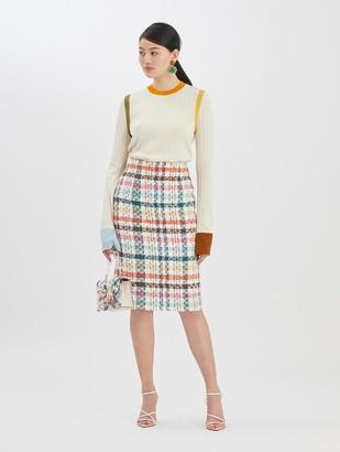Oscar de la Renta Multi Tweed Skirt