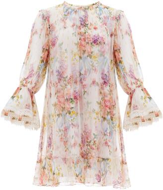 Needle & Thread Floral Diamond Chiffon Mini Dress