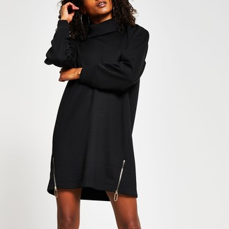 River Island Womens Black long sleeve roll neck zip jumper dress