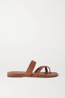 Manolo Blahnik Susa Leather Sandals - Tan