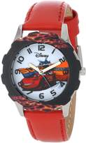 Disney Kids' W001010 Tween Cars Stainless Steel Printed Bezel Leather Strap Watch