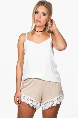 boohoo Plus Crochet Trim Beach Short