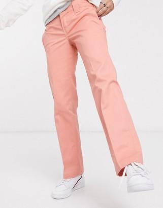 Dickies slim straight trousers in pink