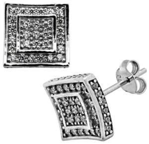 Sutton by Rhona Sutton Sutton Sterling Silver Cubic Zirconia Double Squares Stud Earrings