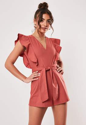 Missguided Red Linen Look Frill Tie Waist Playsuit