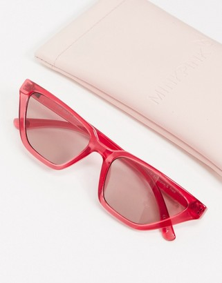 MinkPink Paradiso transparent rounded sunglasses