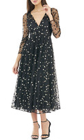 Carmen Marc Valvo Metallic Dot V-Neck Long-Sleeve A-Line Midi Dress