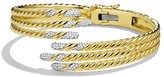 David Yurman Willow Open Three-Row Bracelet with Diamonds in Gold