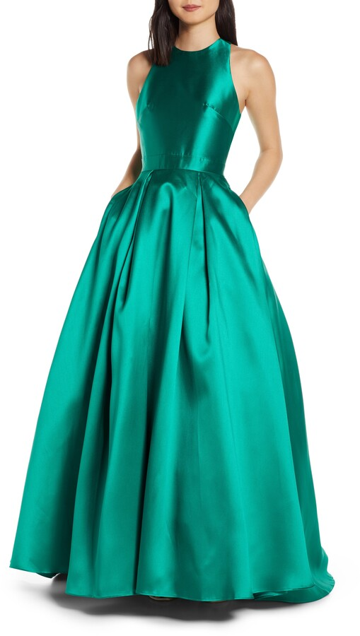 Mac Duggal High Neck Satin Ballgown