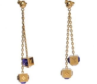 Louis Vuitton Gamble Crystal Gold Tone Long Drop Earrings