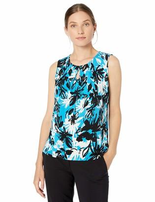 Kasper Women's Cap Sleeve Sketched Floral Print Keyhole ITY