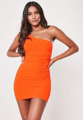 Missguided Tall Neon Orange Slinky One Shoulder Ruched Bodycon Mini Dress