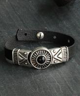 Nautilus Leather & Silvertone Geometric Sundial Bracelet
