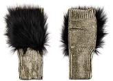 Jocelyn Metallic Fingerless Fox Fur Mittens