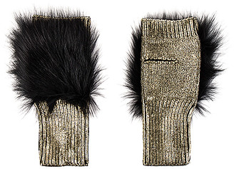 Jocelyn Metallic Fingerless Fox Fur Mittens