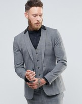 Religion Super Skinny Check Suit Jacket with Faux Leather Back Neck