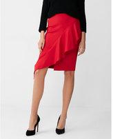 Express asymmetrical ruffle front pencil skirt