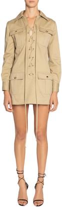 Saint Laurent Long-Sleeve Lace-Up Four-Pocket Mini Shirtdress