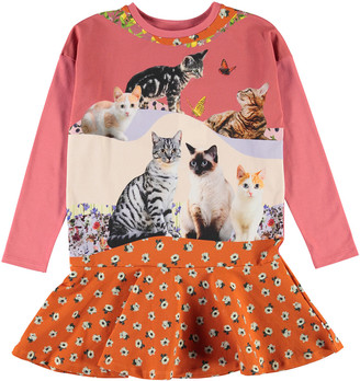 Molo Girl's Claire Cats & Floral Print Dress, Size 2T-10