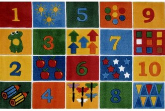 "Zoomie Kids Horner Numbers Block Area Rug Rug Size: Rectangle 3'3"" x 4'10"""