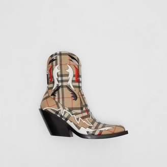 Burberry Topstitch Applique Vintage Check E-canvas Boots
