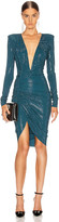 Alexandre Vauthier Ruched Microcrystal Mini Dress in Cobalt | FWRD