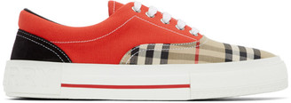Burberry Red and Beige Vintage Check Skate Sneakers
