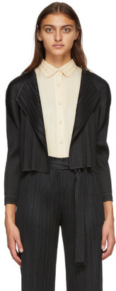 Pleats Please Issey Miyake Black Basics Cardigan
