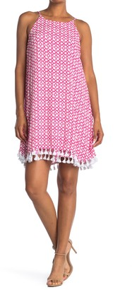 Nina Leonard Anchor Print Sleeveless Tassel Trim Shift Dress