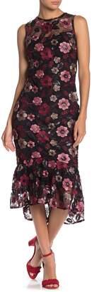 Calvin Klein Metallic Lace Floral Midi Dress