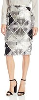 Calvin Klein Women's Metallic Jaquard Pencil Skirt