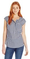 U.S. Polo Assn. Juniors' Cap-Sleeve Half-Placket Pullover Check Blouse
