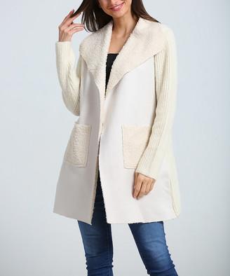 Couture Simply Women's Non-Denim Casual Jackets Beige - Beige Pocket Folded-Collar Open Jacket - Women & Plus