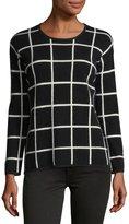 Neiman Marcus Cashmere Grid-Print Sweater