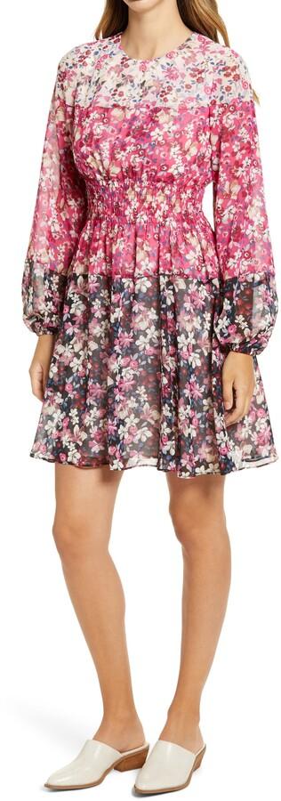Eliza J Colorblock Floral Smocked Waist Long Sleeve Dress