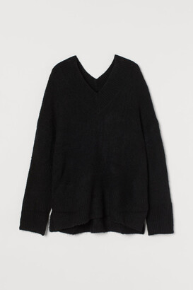 H&M V-neck Wool-blend Sweater - Black